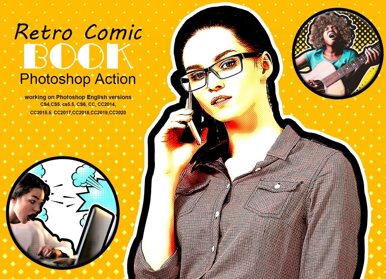 复古漫画风照片处理滤镜PS动作素材 Retro Comic Book Photoshop Action插图