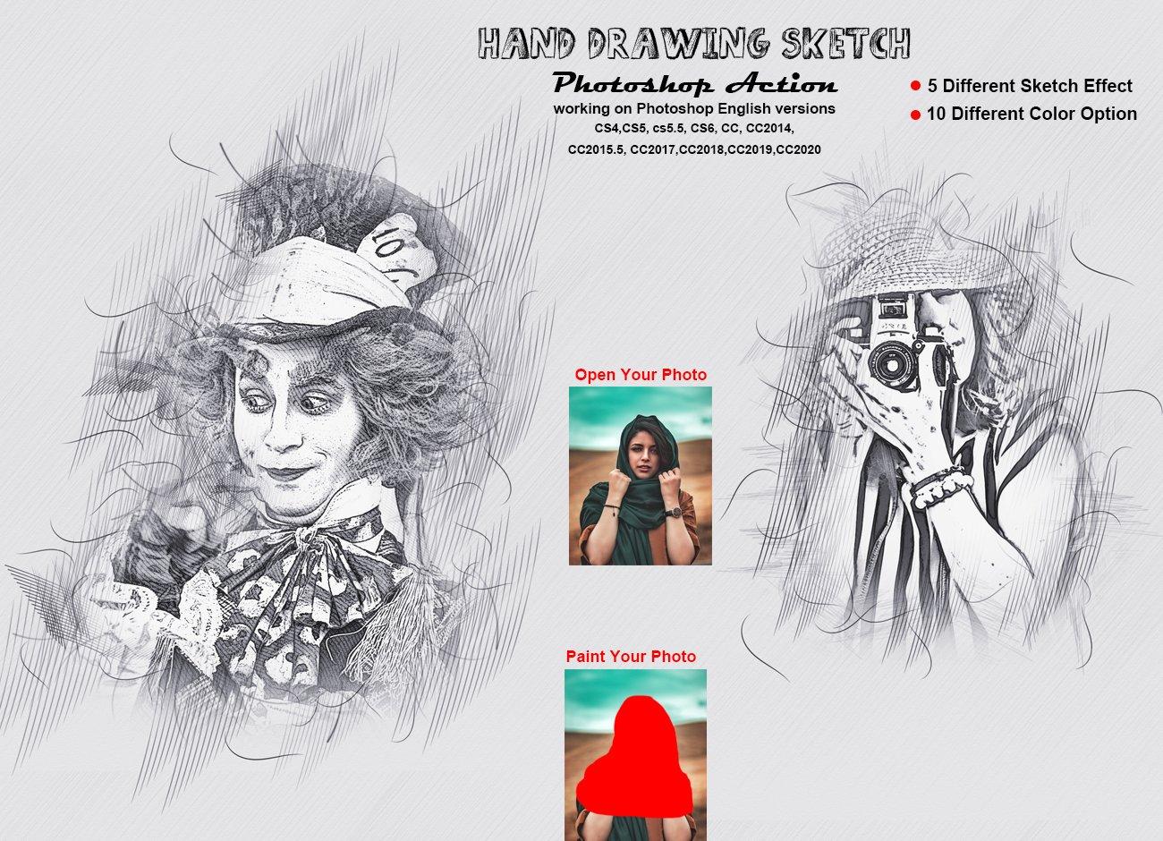 铅笔手绘素描效果照片处理特效PS动作模板 Hand Drawing Sketch Photoshop Action插图