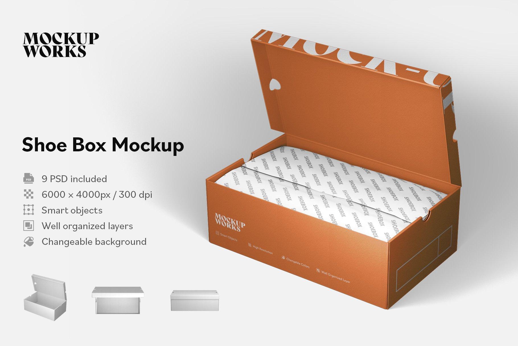 9款鞋盒包装纸盒设计展示样机 Shoe Box Mockup插图