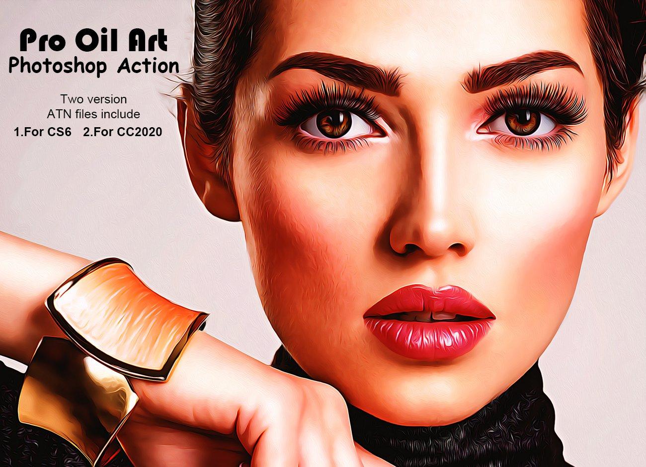 逼真油画效果照片处理特效PS动作模板素材 Pro Oil Art Photoshop Action插图