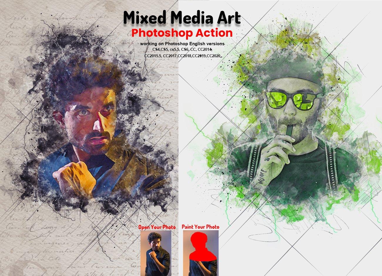 逼真水彩混合艺术效果照片处理滤镜PS动作模板 Mixed Media Art Photoshop Action插图