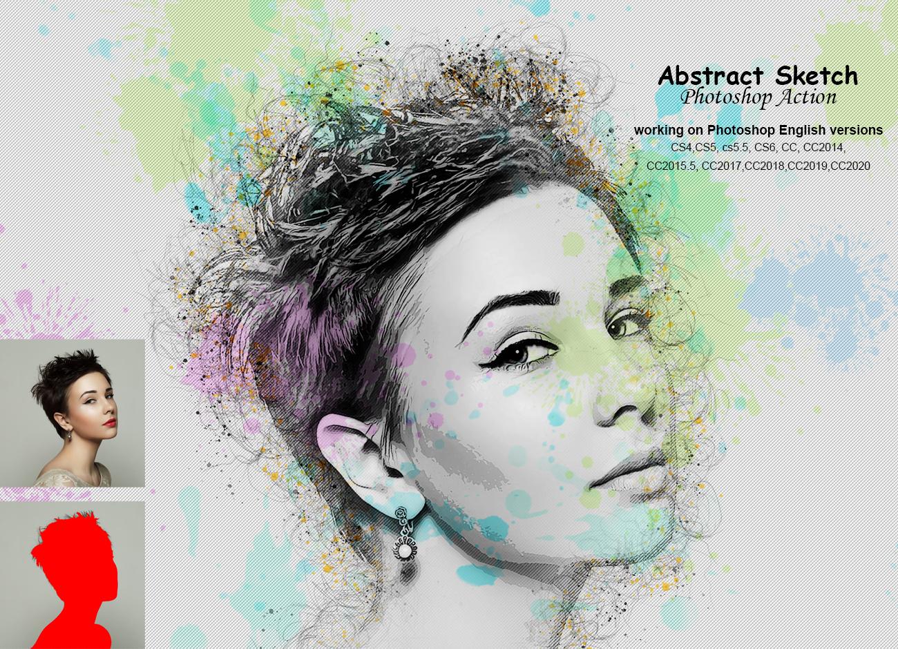 抽象铅笔素描效果照片处理特效PS动作模板 Abstract Sketch Photoshop Action插图