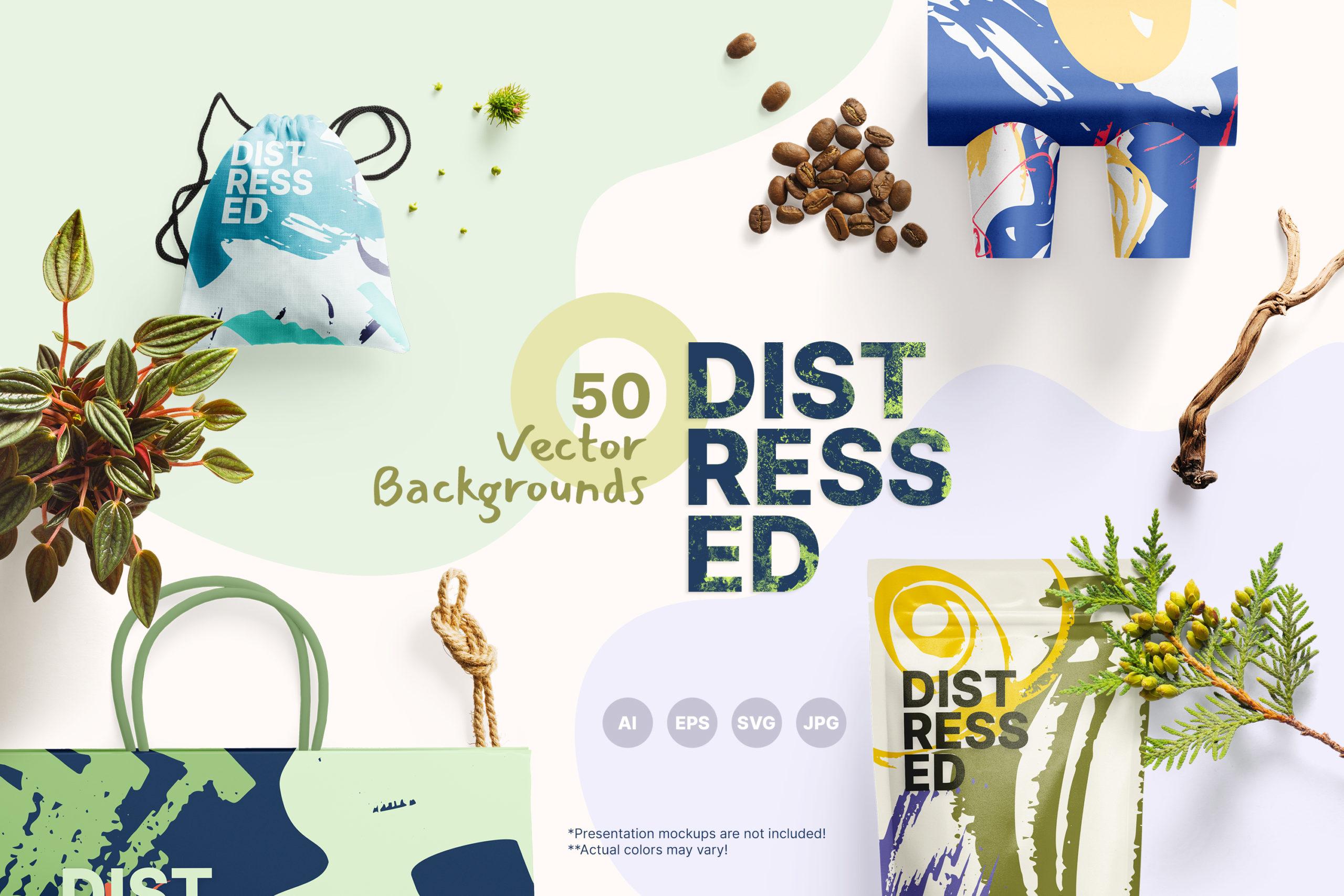粗糙水墨毛笔笔触纹理海报设计背景图片矢量设计素材 Distressed Vector Backgrounds插图