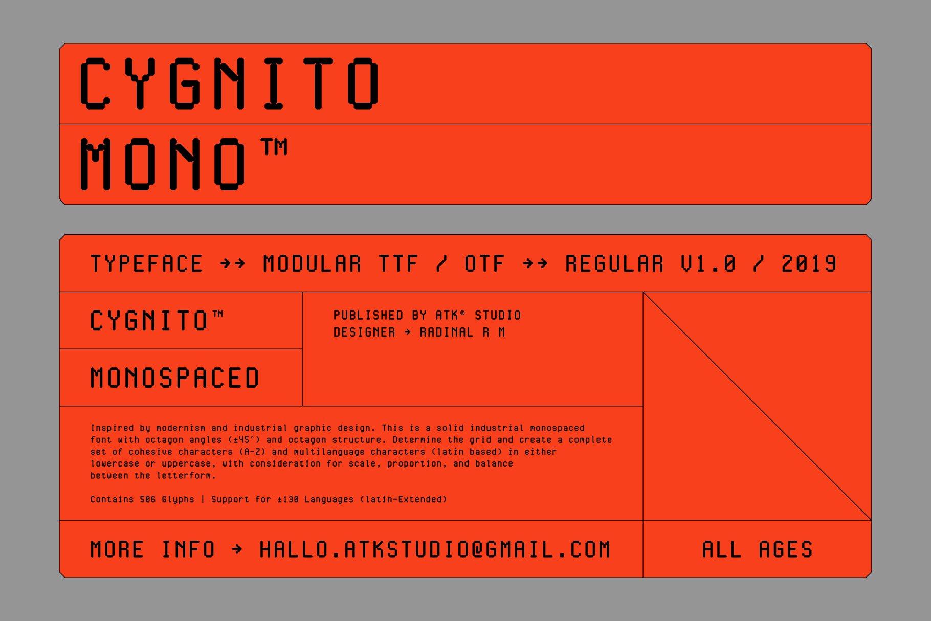 现代简约经典海报杂志等宽无衬线英文字体素材 Cygnito Mono插图