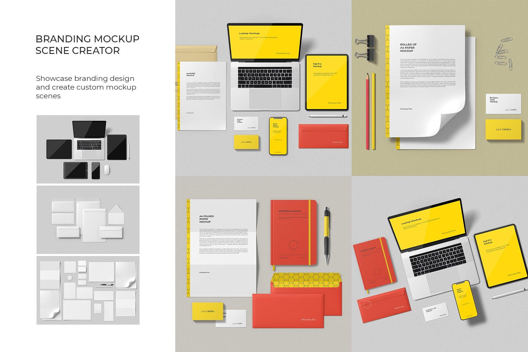 12个时尚简约品牌Logo设计办公用品展示贴图样机模板套装 Branding Mockup Scene Creator插图