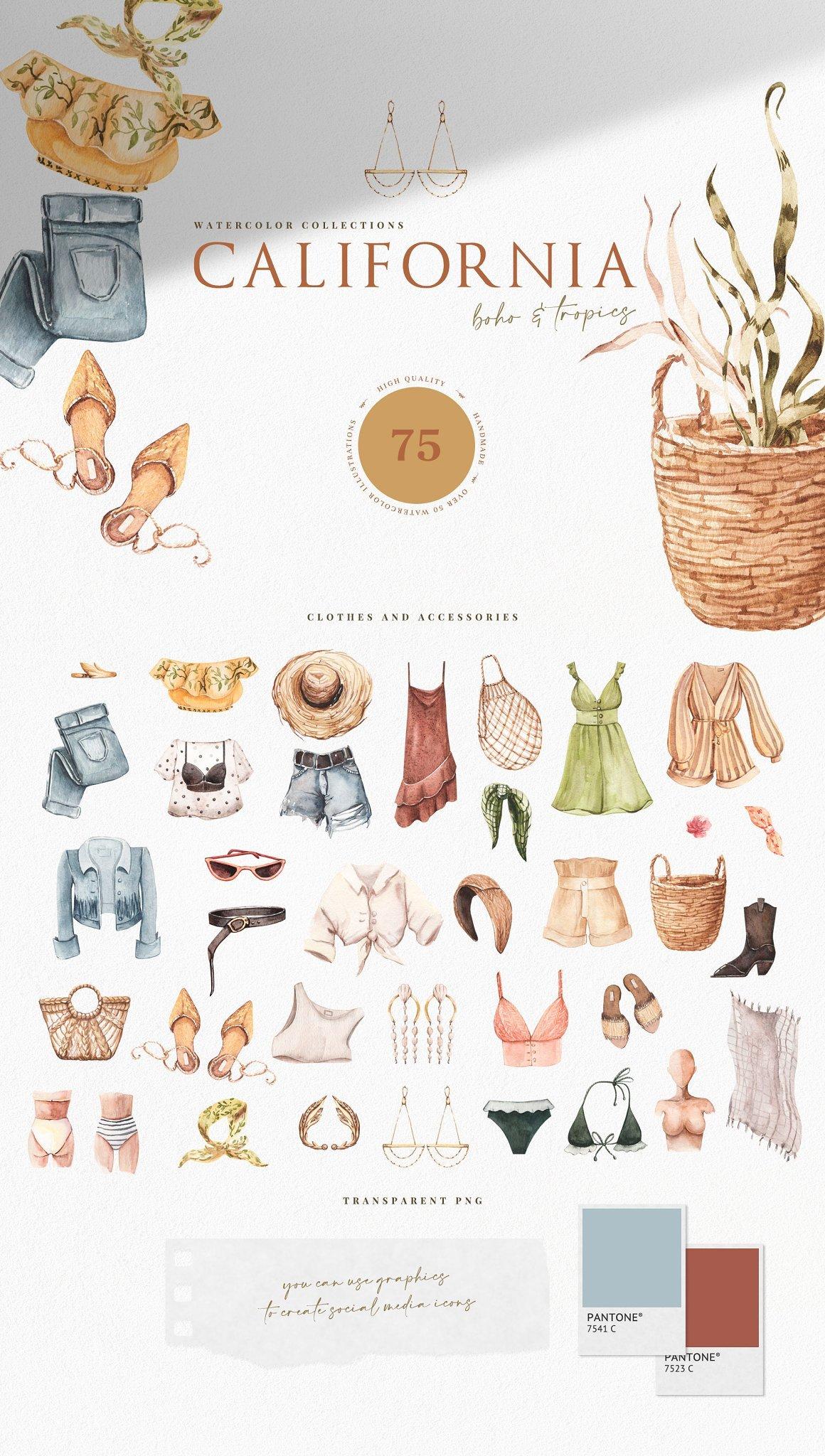 加利福尼亚风女性夏装裙子礼服手绘水彩画PNG透明图片素材 California. Boho Outfit  More插图
