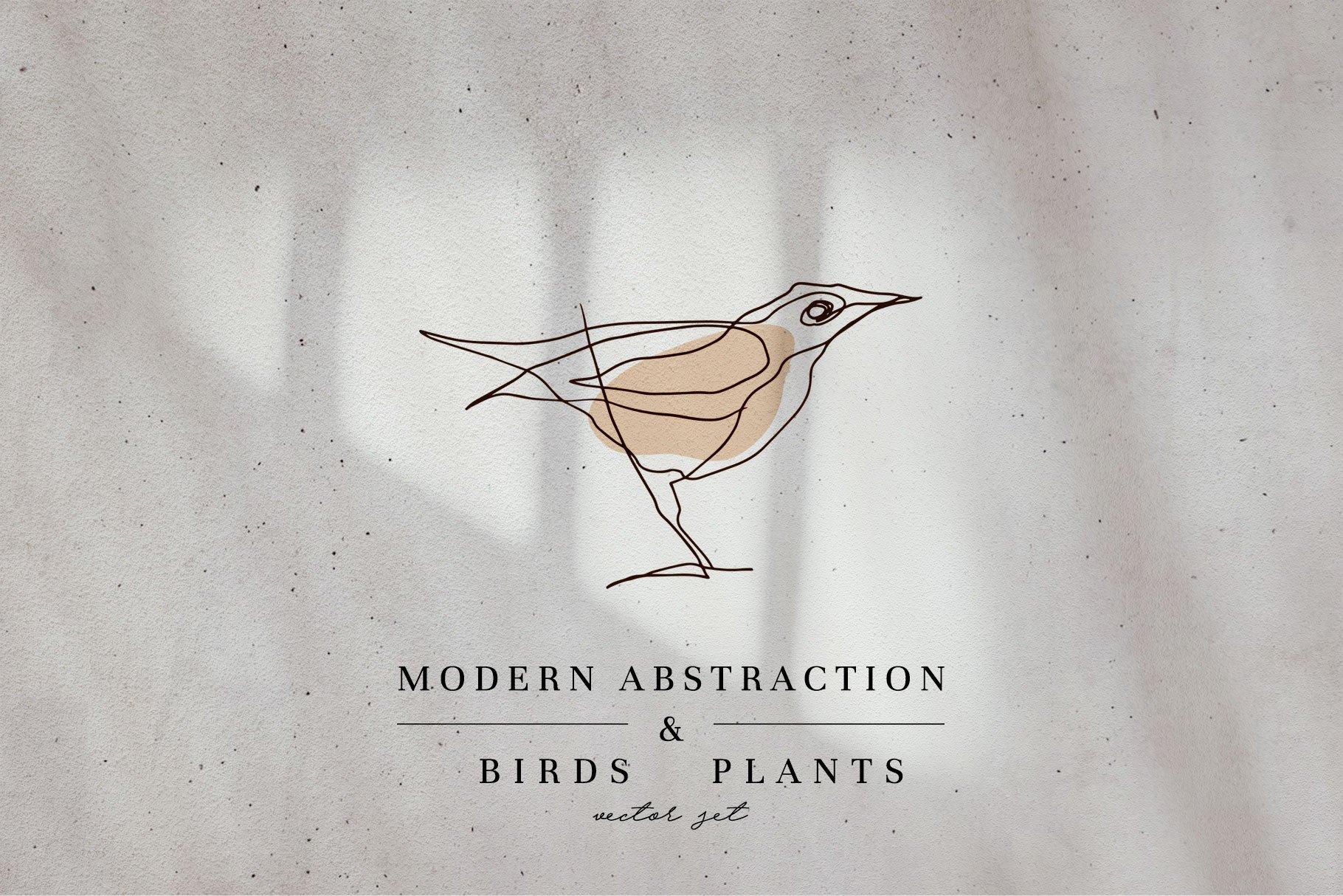 现代抽象几何图形鸟类矢量线条设计素材 Modern Abstraction Birds & Plants插图