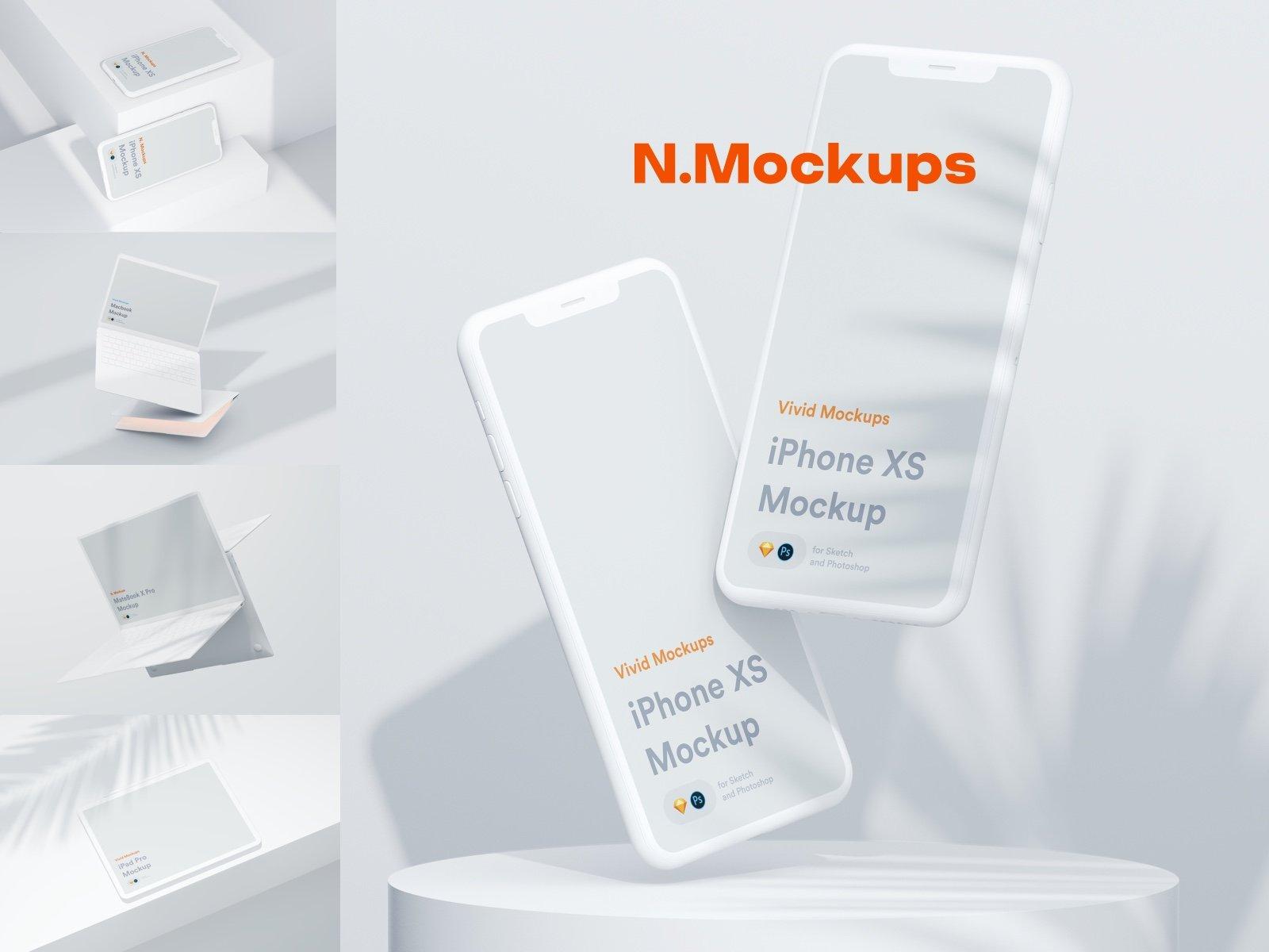[单独购买] 超大网站APP设计陶瓷苹果设备屏幕演示样机模板素材套装 N.Mockups插图