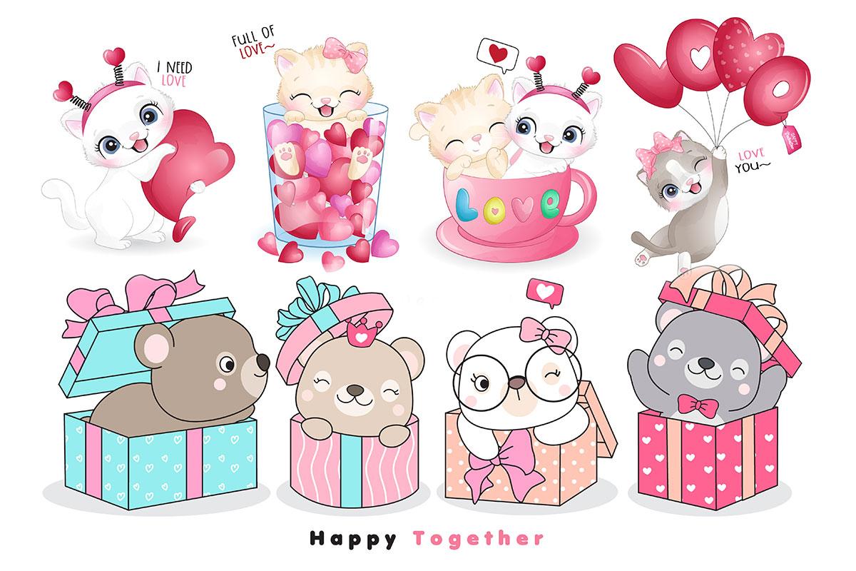 情人节主题卡通动物心形矢量设计素材 Cute Funny Doodle Animals For Valentine's Day Illustration插图
