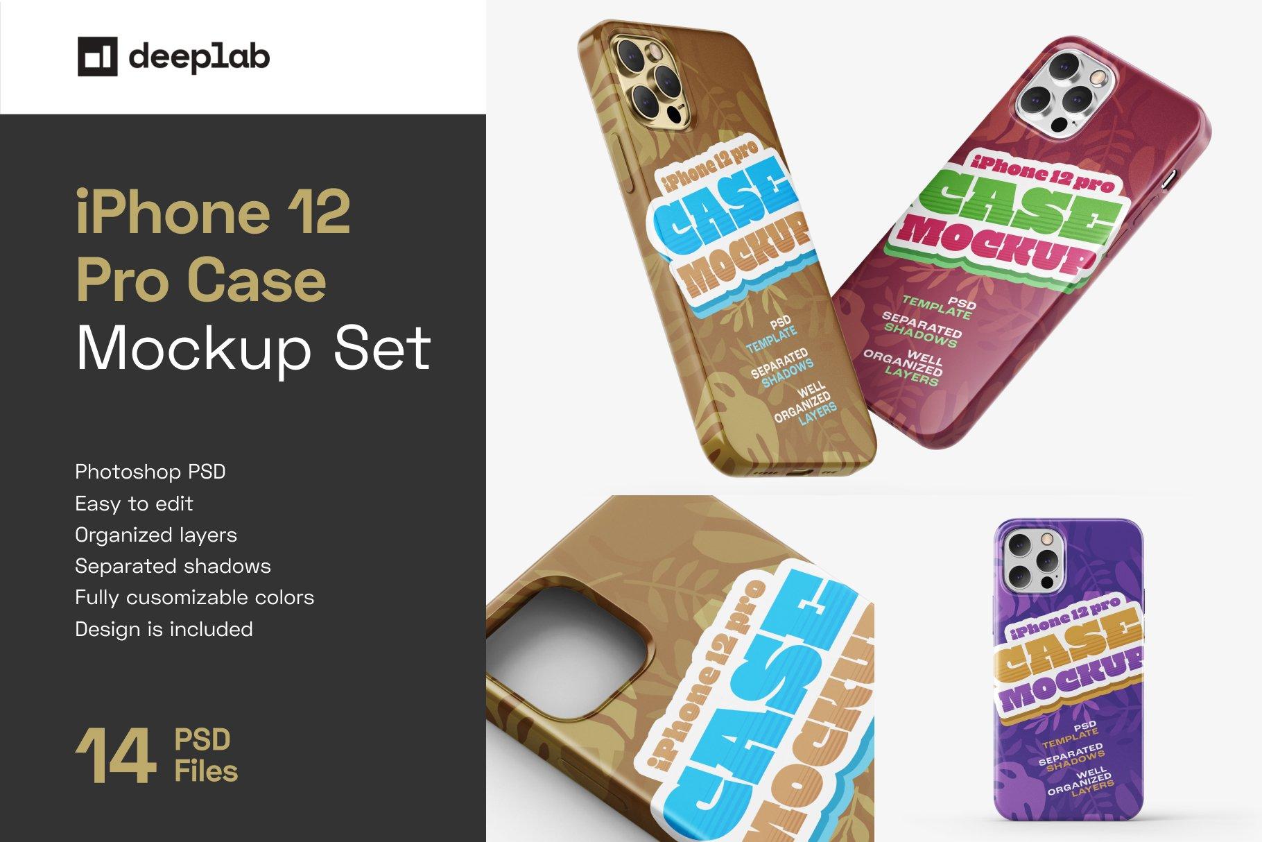 14款iPhone 12 Pro手机壳外观设计展示样机合集 iPhone 12 Pro Case Mockup Set插图