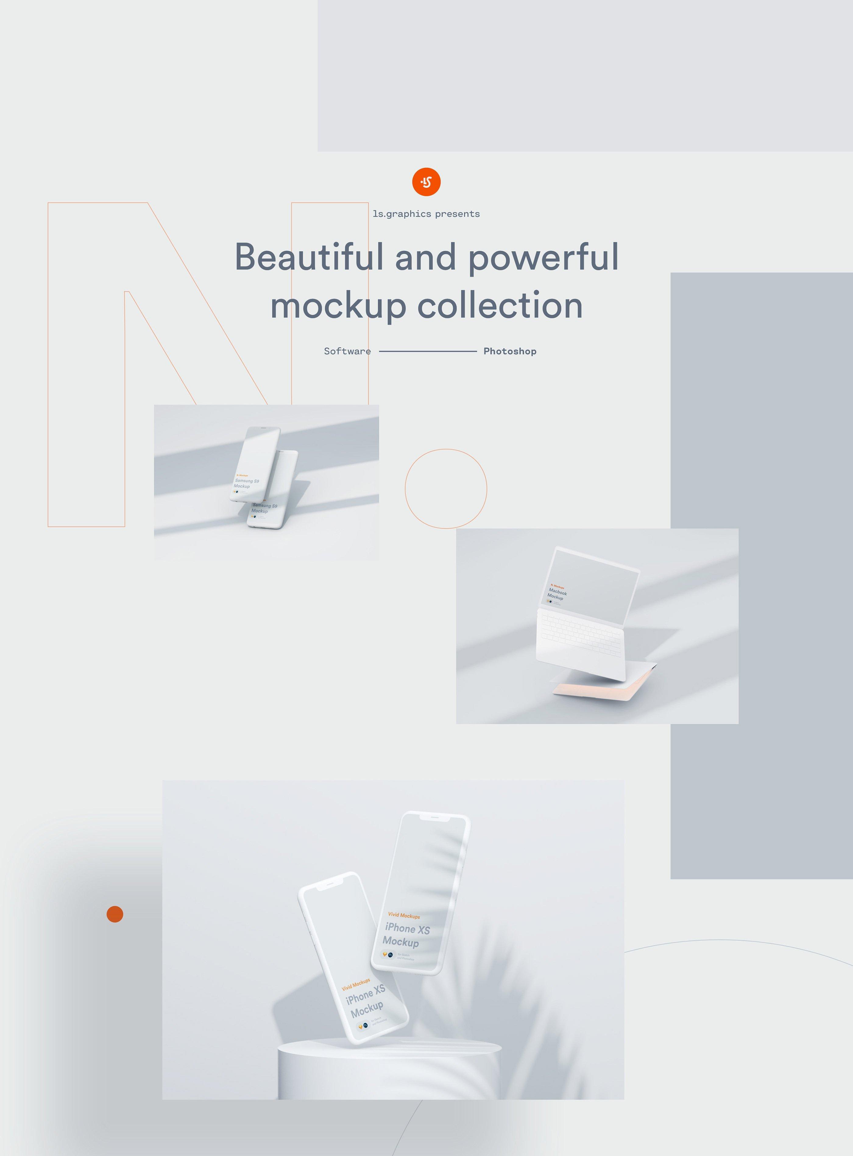 [单独购买] 超大网站APP设计陶瓷苹果设备屏幕演示样机模板素材套装 N.Mockups插图1