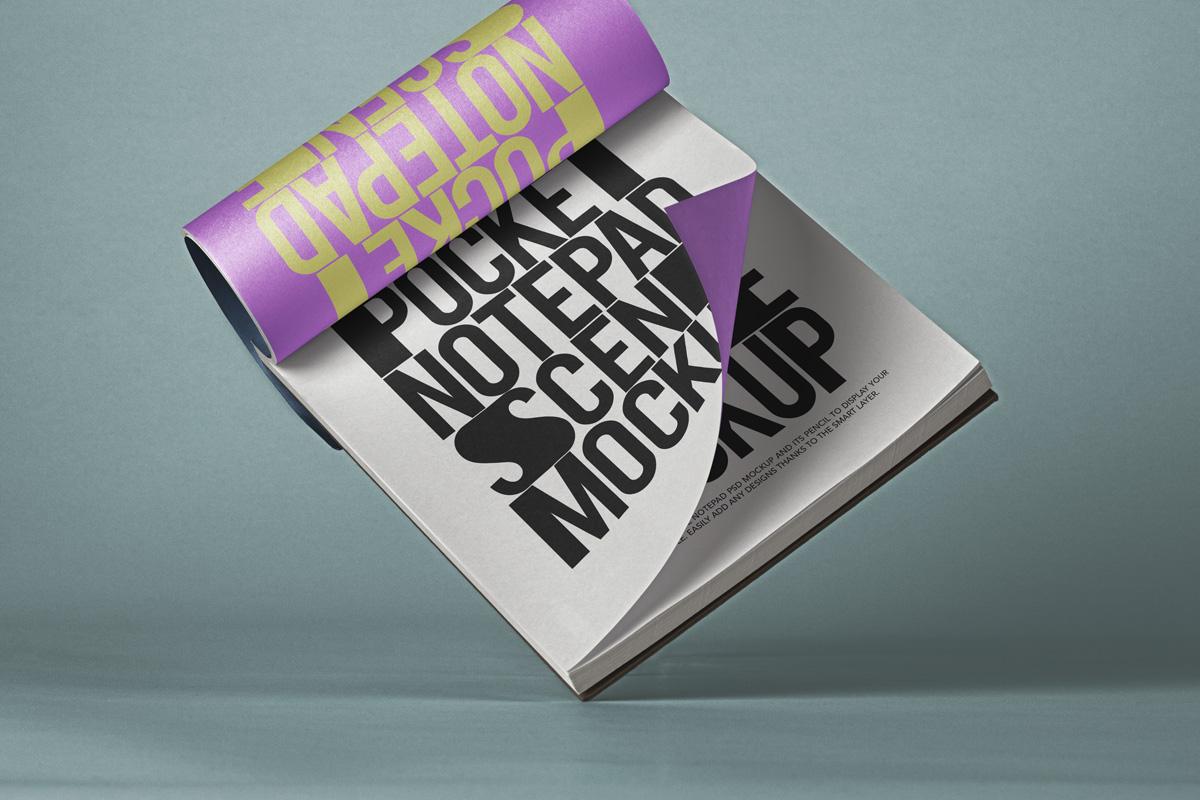 掌上笔记本设计贴图PSD样机模板 Pocket Psd Notepad Mockup Scene插图