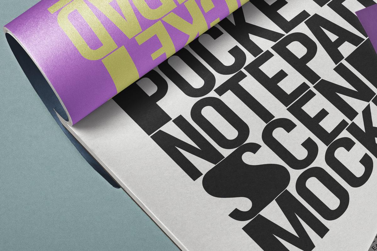 掌上笔记本设计贴图PSD样机模板 Pocket Psd Notepad Mockup Scene插图2