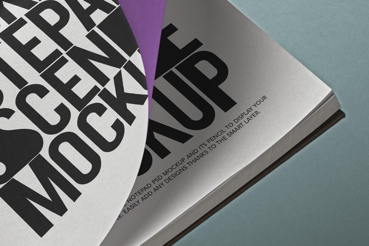 掌上笔记本设计贴图PSD样机模板 Pocket Psd Notepad Mockup Scene插图3