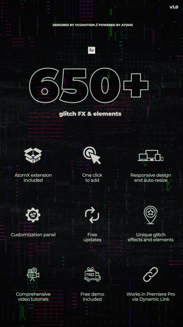 [单独购买] 650多款故障扭曲失真毛刺效果视频转场标题设计AE模板素材 650+ Glitch Elements插图