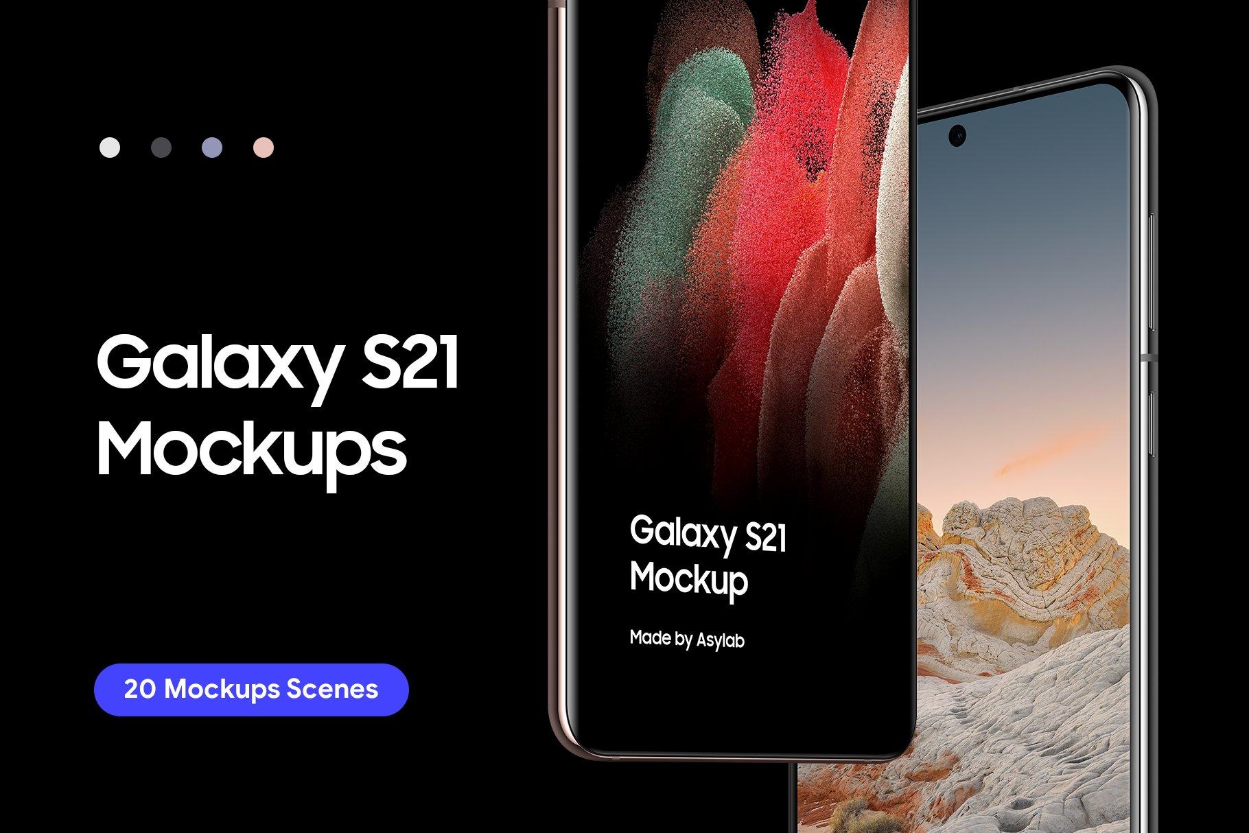 [单独购买] 20款三星Galaxy S21手机网站APP界面设计演示样机模板套件 Galaxy S21 – 20 Mockups Scenes插图