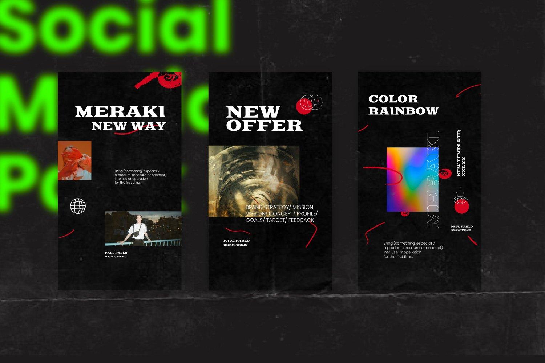 潮流潮牌品牌推广新媒体电商海报设计PS模板素材 MERAKI – Social Media Brand Pack插图10