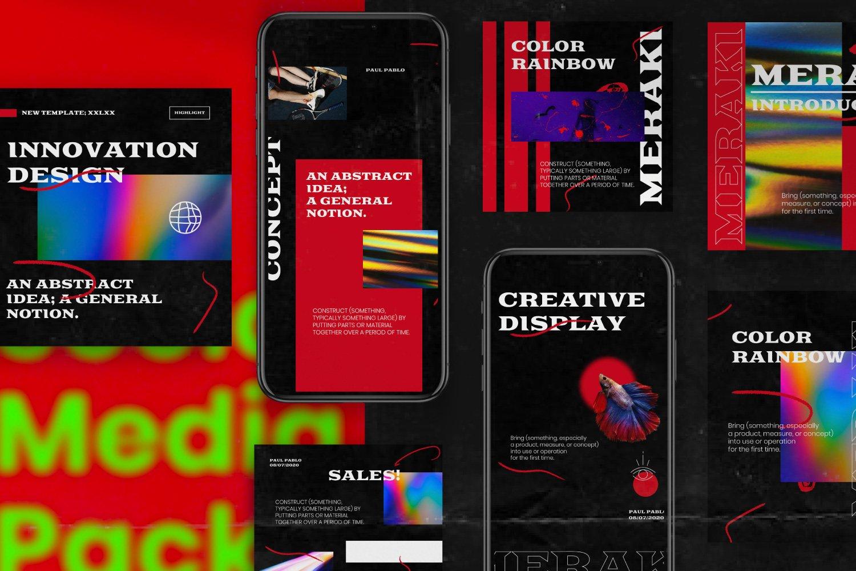 潮流潮牌品牌推广新媒体电商海报设计PS模板素材 MERAKI – Social Media Brand Pack插图2