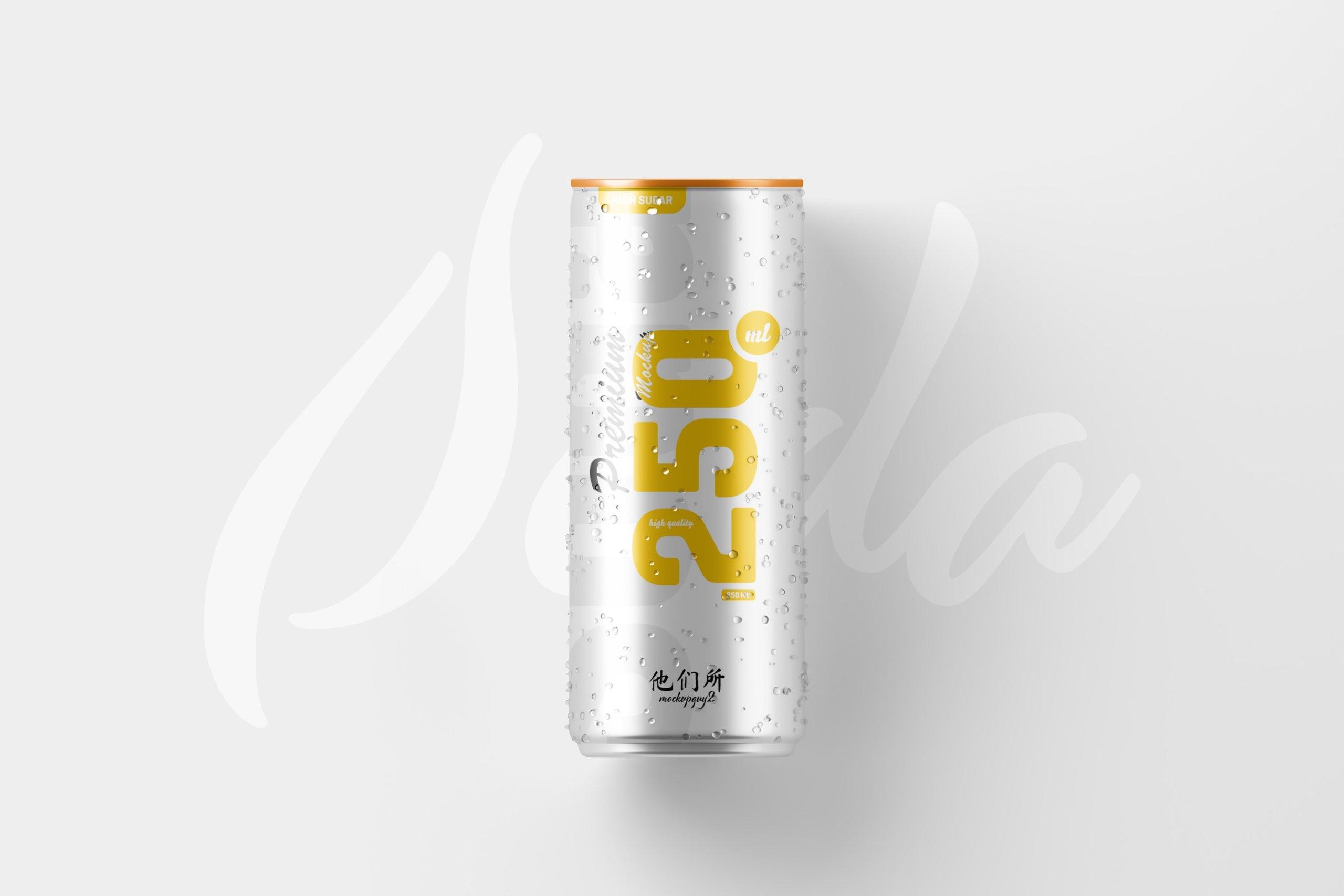 10款250ml啤酒饮料苏打水锡罐易拉罐设计展示样机 250ml Soda Can Mockup插图2