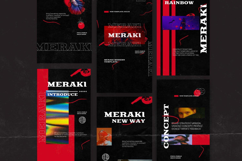 潮流潮牌品牌推广新媒体电商海报设计PS模板素材 MERAKI – Social Media Brand Pack插图3