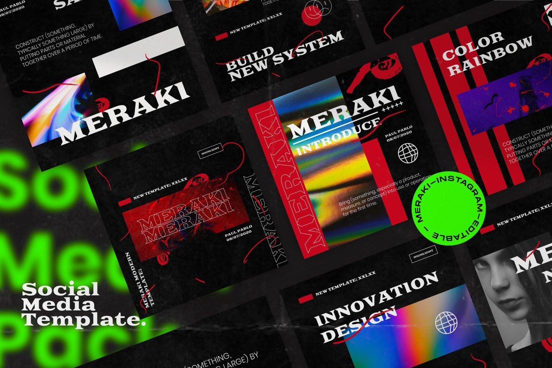 潮流潮牌品牌推广新媒体电商海报设计PS模板素材 MERAKI – Social Media Brand Pack插图5