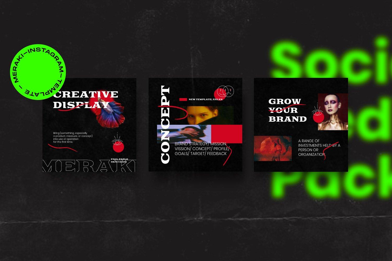 潮流潮牌品牌推广新媒体电商海报设计PS模板素材 MERAKI – Social Media Brand Pack插图6