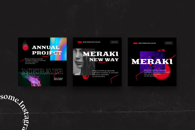 潮流潮牌品牌推广新媒体电商海报设计PS模板素材 MERAKI – Social Media Brand Pack插图7