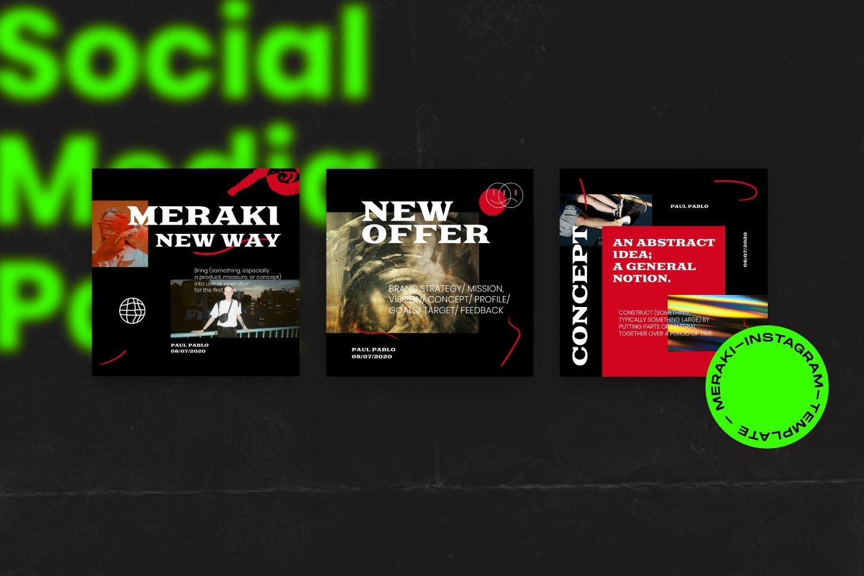 潮流潮牌品牌推广新媒体电商海报设计PS模板素材 MERAKI – Social Media Brand Pack插图8