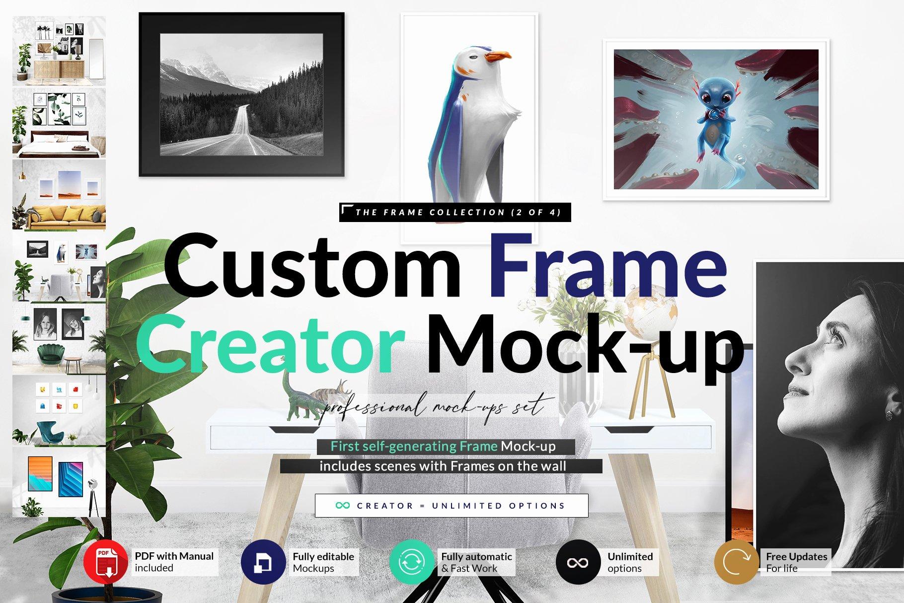 多款式海报艺术品展示相框样机模板素材 Automatic Frame Creator + Scenes插图