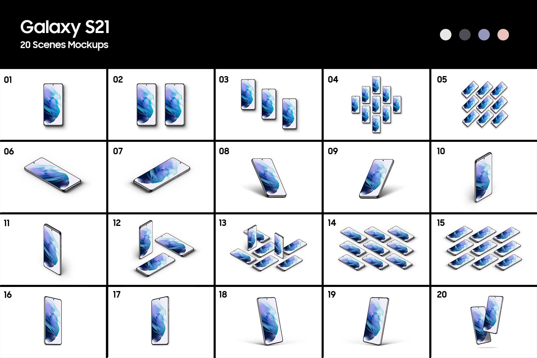 [单独购买] 20款三星Galaxy S21手机网站APP界面设计演示样机模板套件 Galaxy S21 – 20 Mockups Scenes插图1