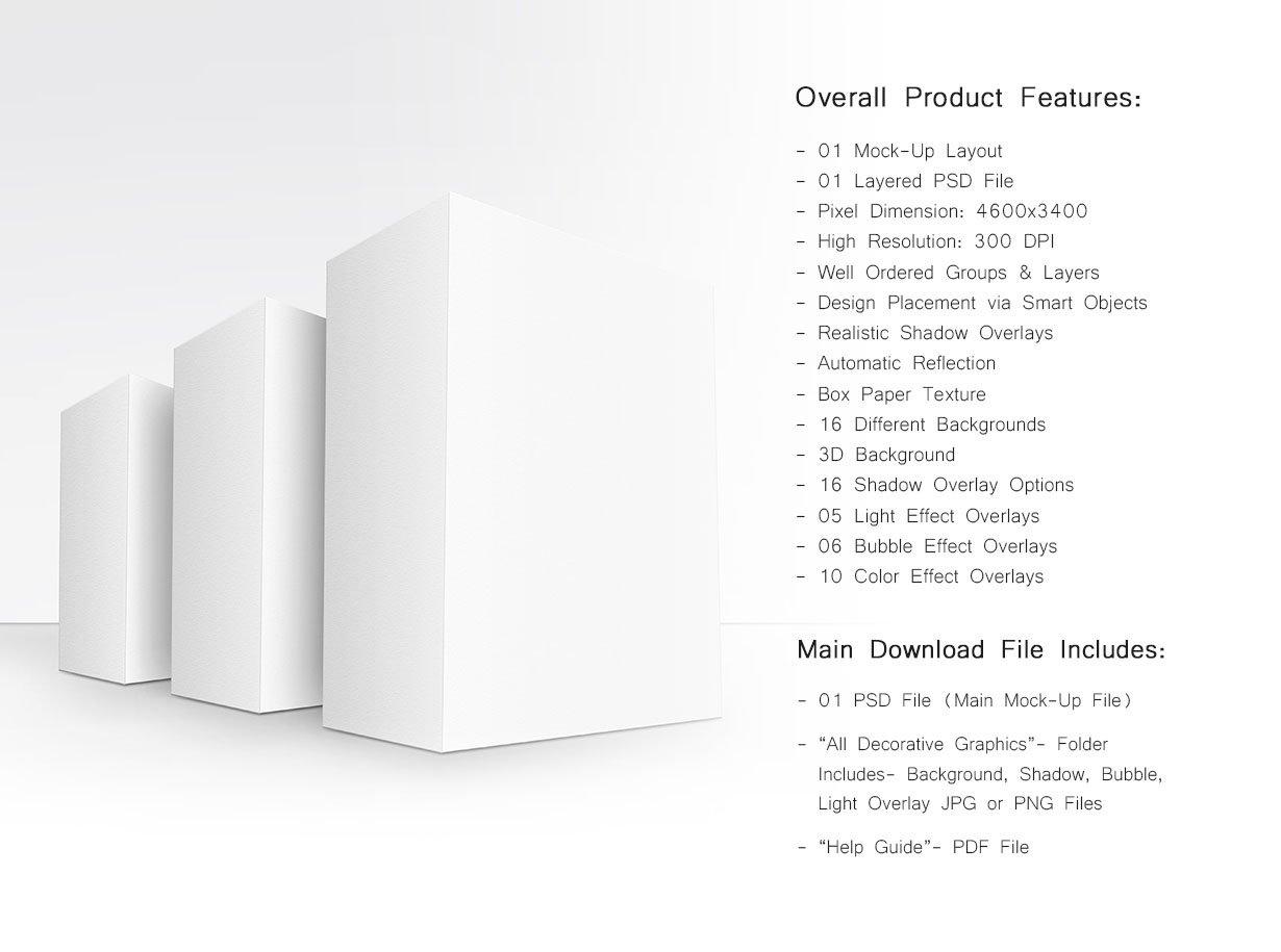 方形产品包装盒设计展示贴图样机模板 Product Box Mock-Up 09插图1