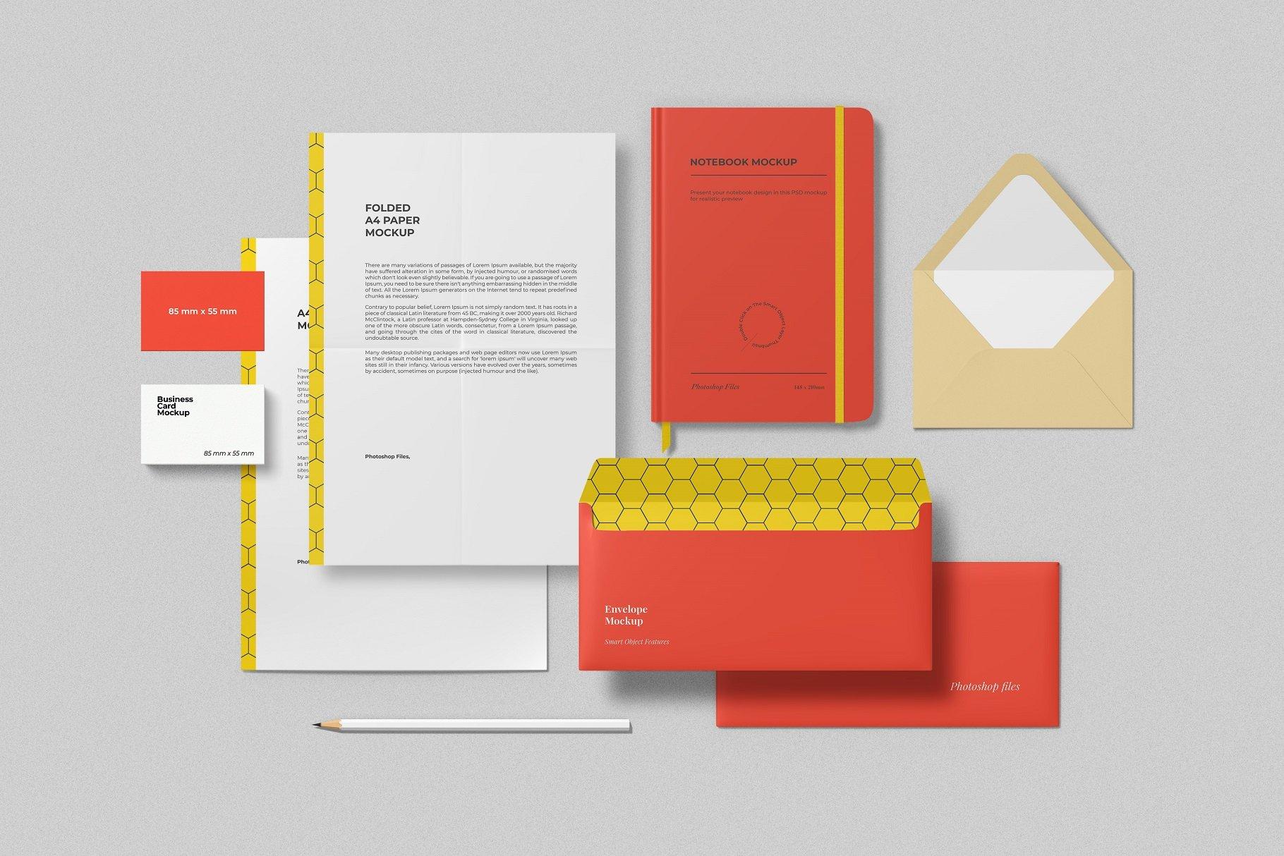 12个时尚简约品牌Logo设计办公用品展示贴图样机模板套装 Branding Mockup Scene Creator插图3