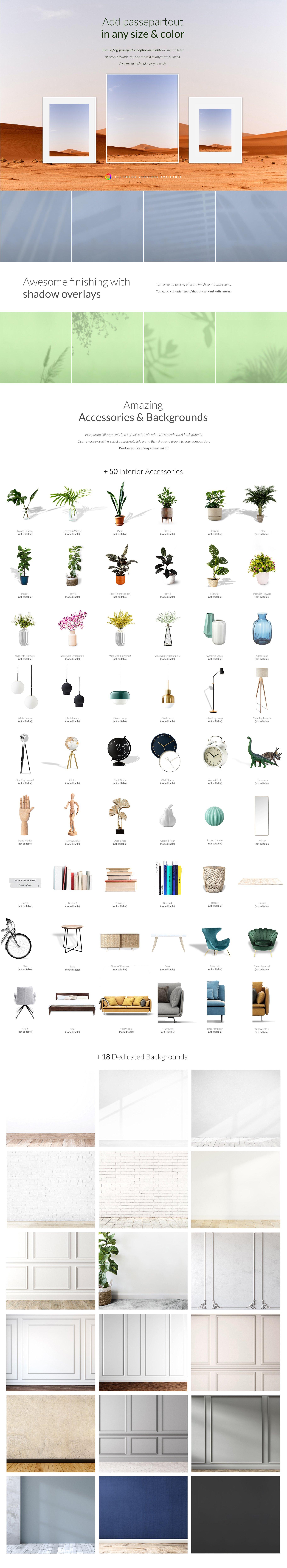 多款式海报艺术品展示相框样机模板素材 Automatic Frame Creator + Scenes插图2