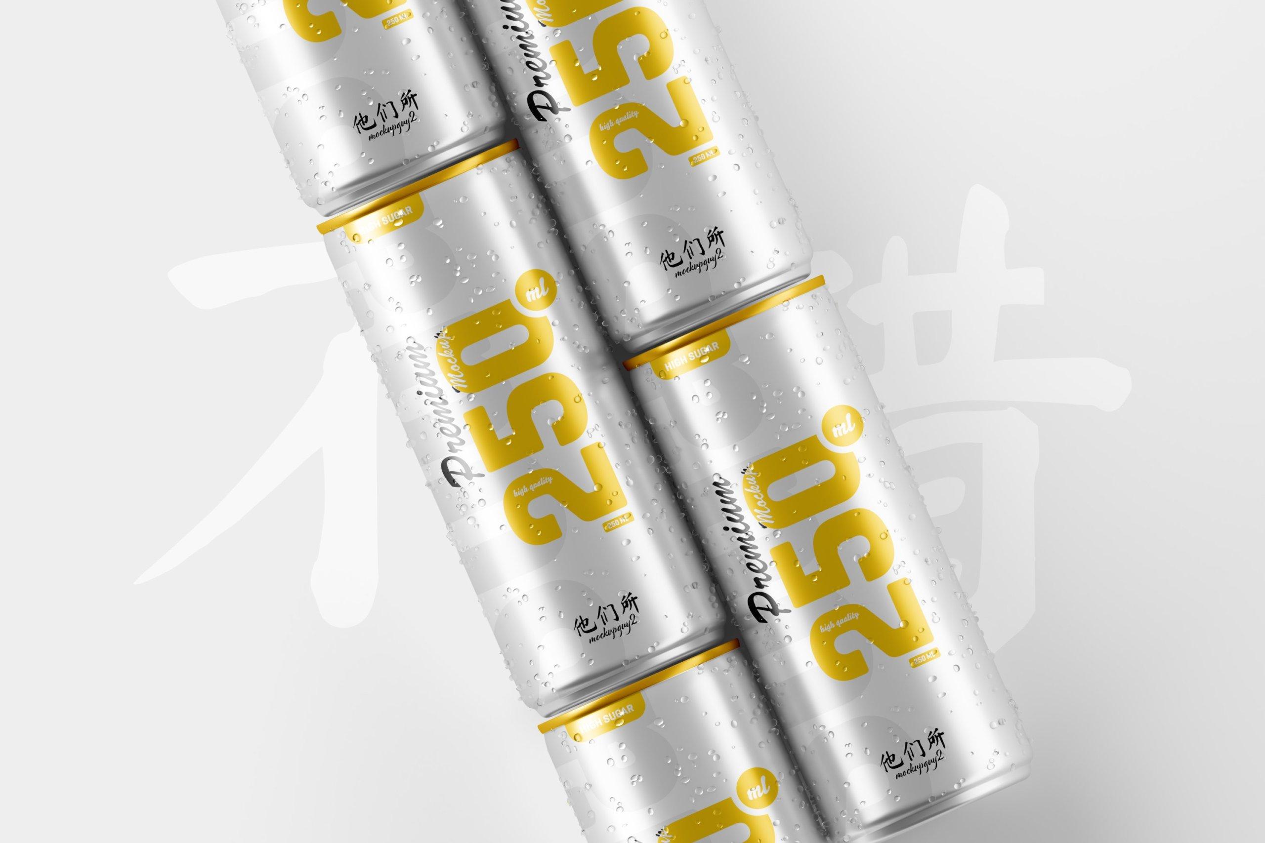 10款250ml啤酒饮料苏打水锡罐易拉罐设计展示样机 250ml Soda Can Mockup插图5