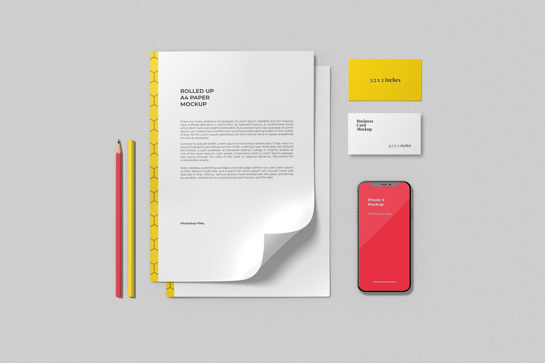 12个时尚简约品牌Logo设计办公用品展示贴图样机模板套装 Branding Mockup Scene Creator插图4