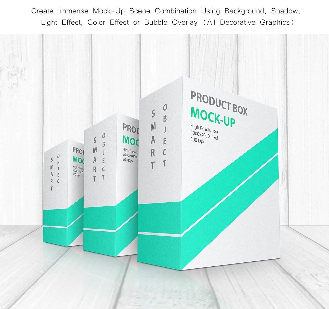 方形产品包装盒设计展示贴图样机模板 Product Box Mock-Up 09插图4