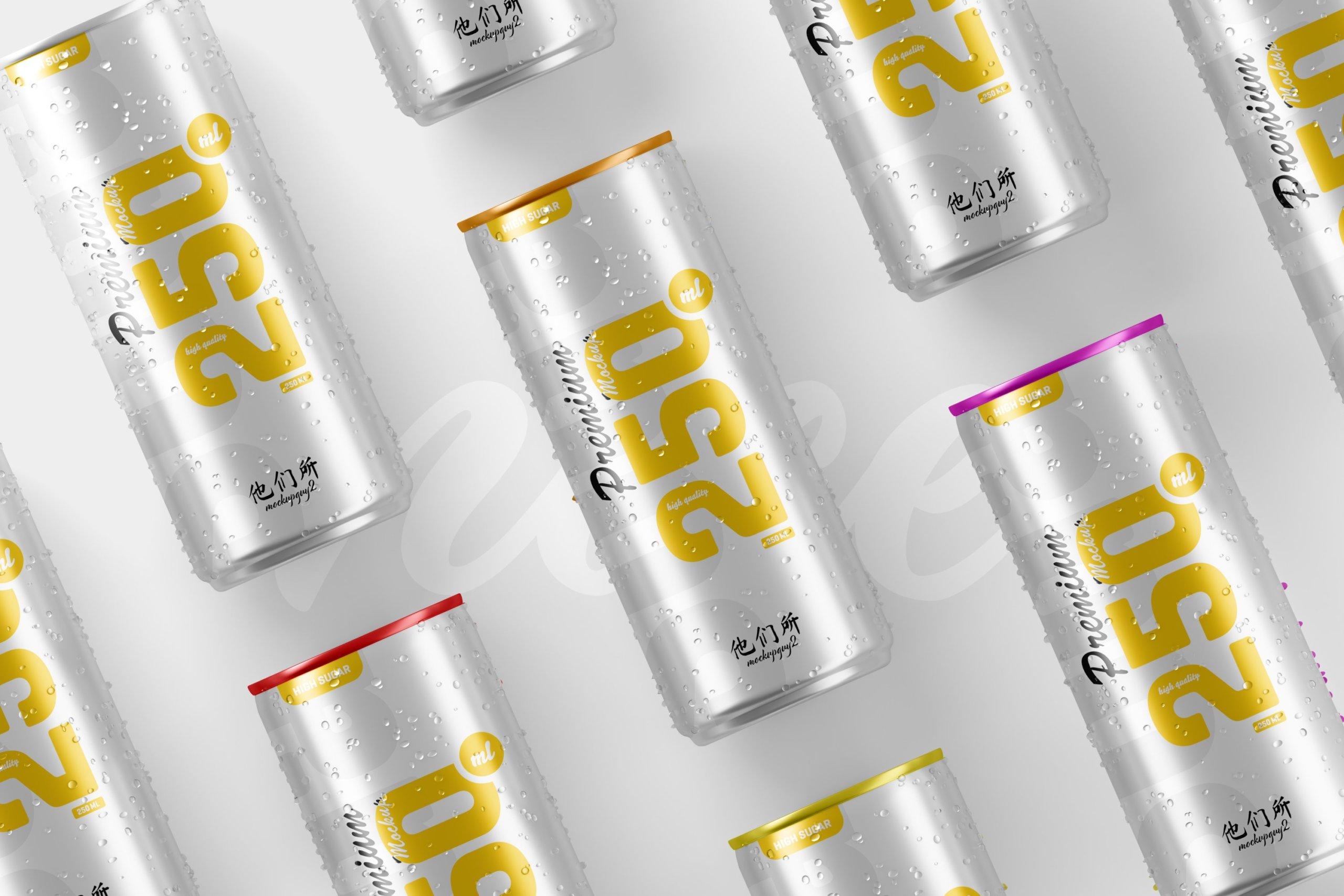 10款250ml啤酒饮料苏打水锡罐易拉罐设计展示样机 250ml Soda Can Mockup插图6