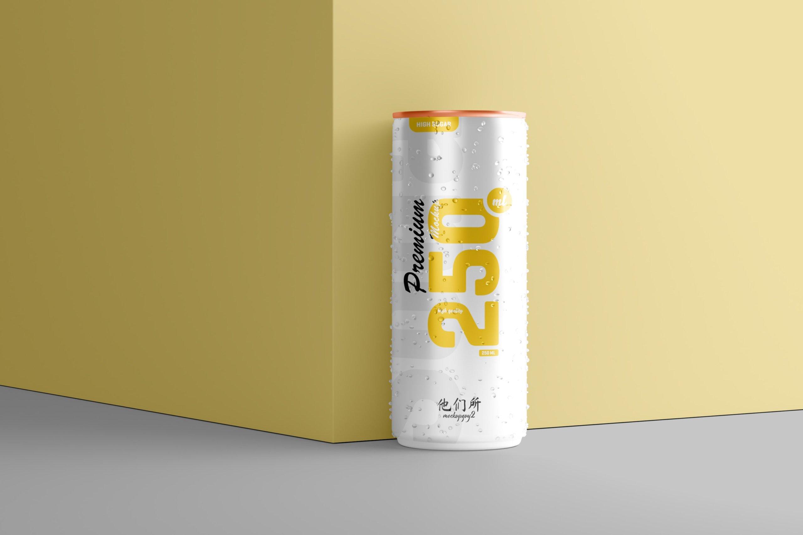 10款250ml啤酒饮料苏打水锡罐易拉罐设计展示样机 250ml Soda Can Mockup插图7