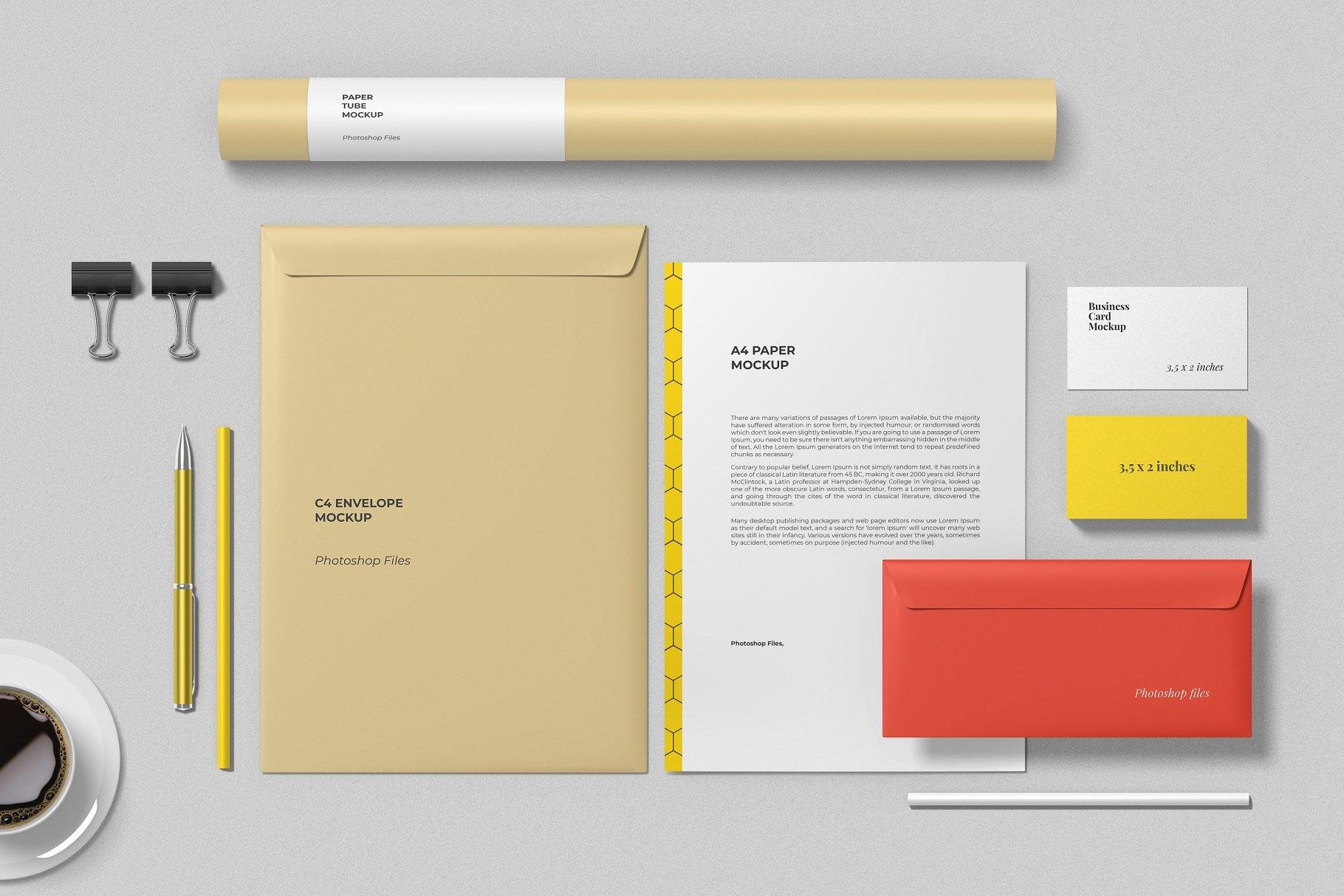 12个时尚简约品牌Logo设计办公用品展示贴图样机模板套装 Branding Mockup Scene Creator插图6