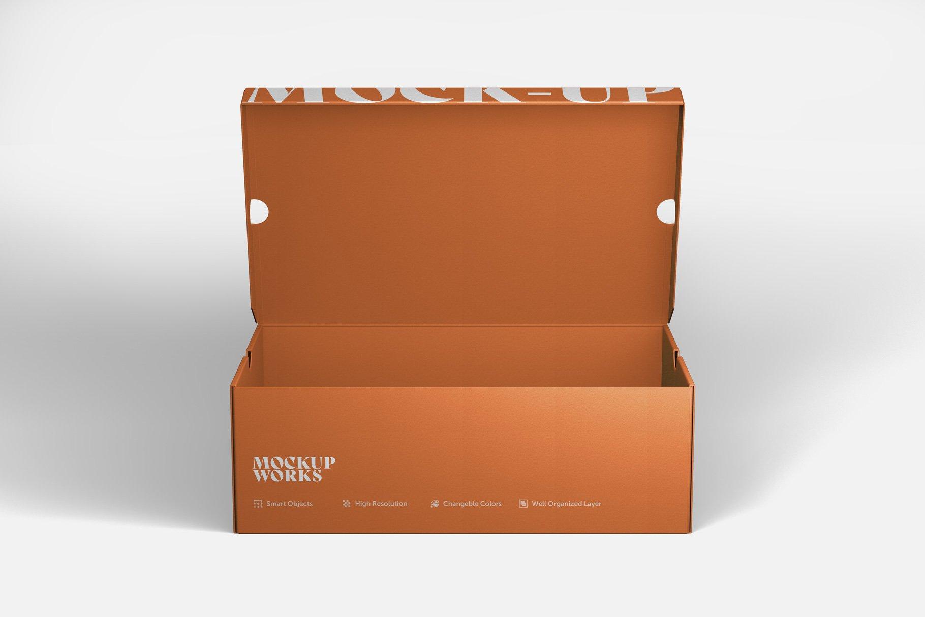 9款鞋盒包装纸盒设计展示样机 Shoe Box Mockup插图6