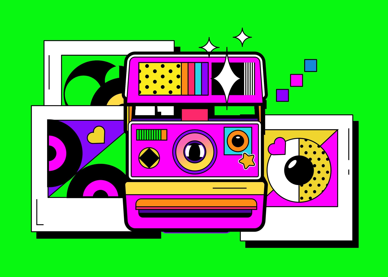 [单独购买] 13款潮流炫彩复古撞色孟菲斯几何插图插画AI设计素材 Colorful Memphis Vector Material插图1