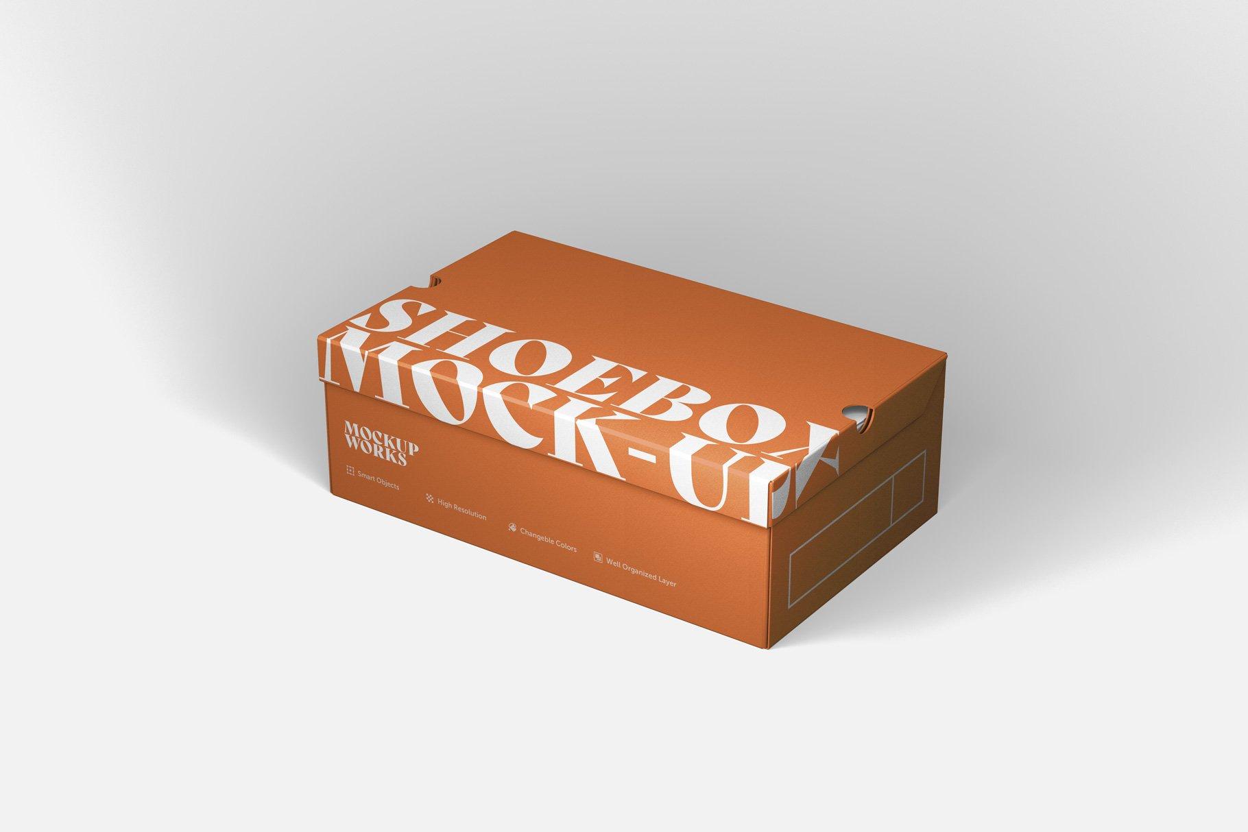 9款鞋盒包装纸盒设计展示样机 Shoe Box Mockup插图7