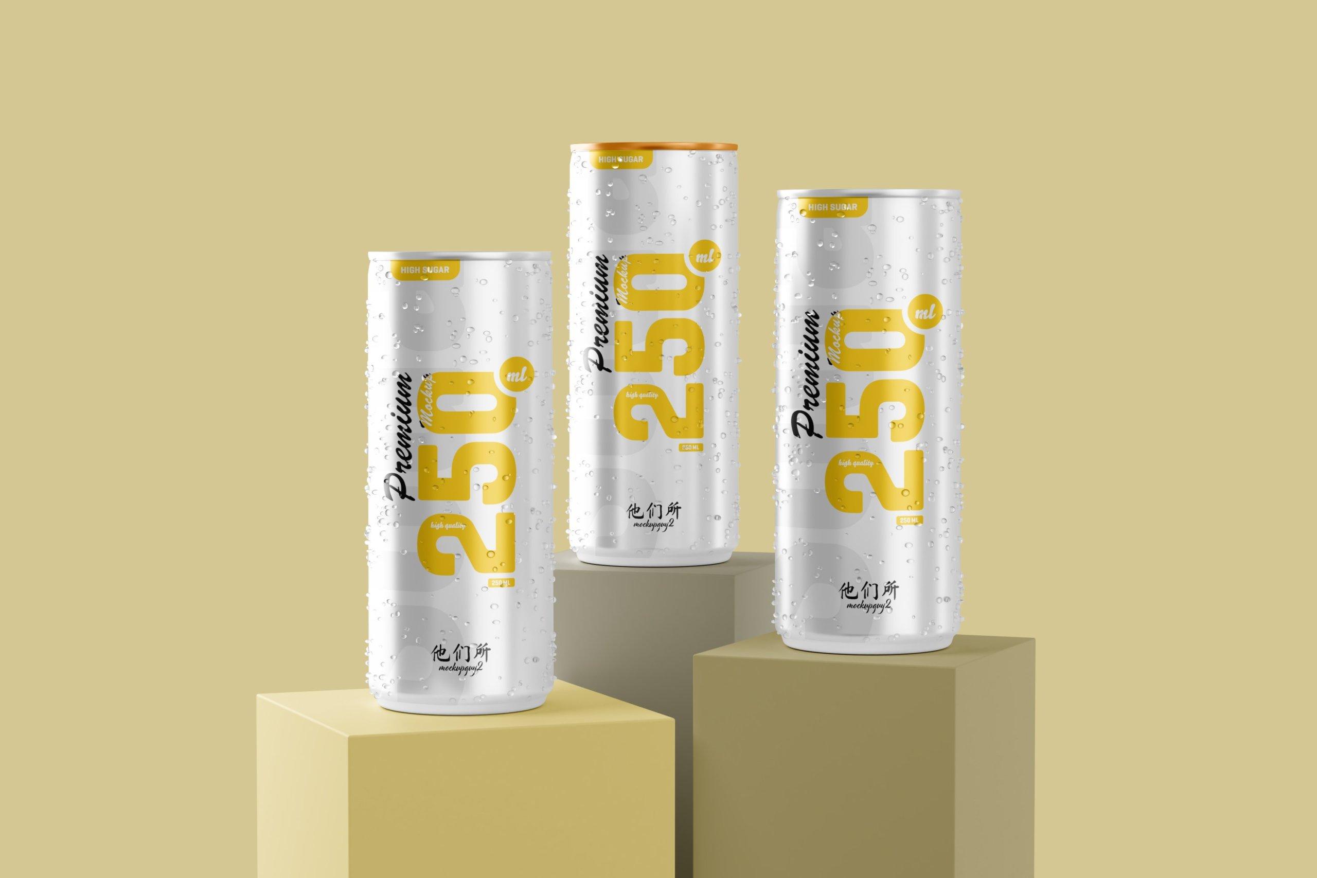 10款250ml啤酒饮料苏打水锡罐易拉罐设计展示样机 250ml Soda Can Mockup插图9