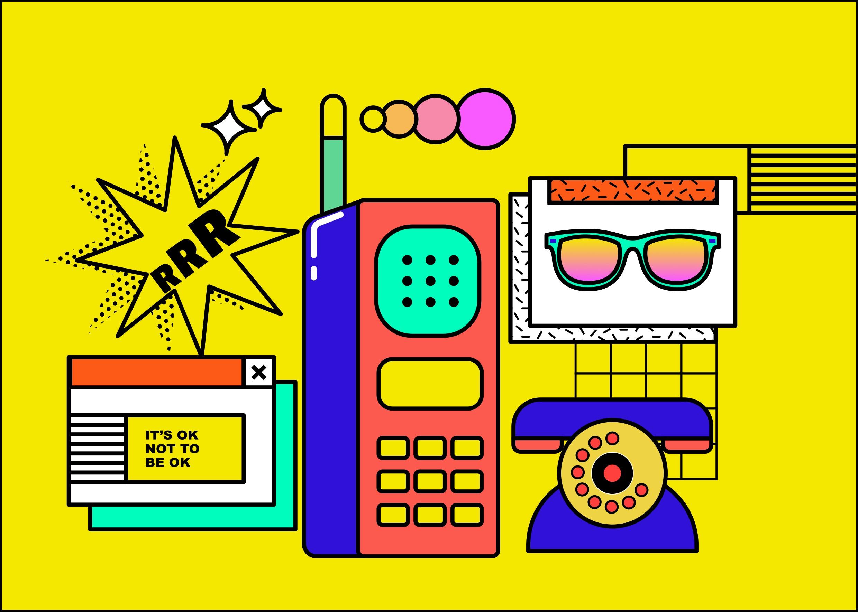 [单独购买] 13款潮流炫彩复古撞色孟菲斯几何插图插画AI设计素材 Colorful Memphis Vector Material插图2