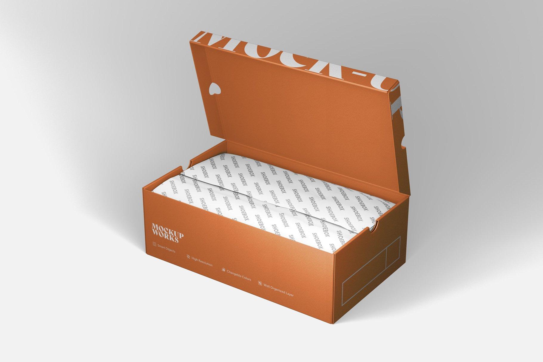 9款鞋盒包装纸盒设计展示样机 Shoe Box Mockup插图8