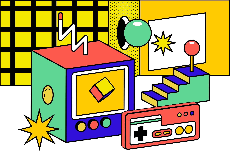 [单独购买] 13款潮流炫彩复古撞色孟菲斯几何插图插画AI设计素材 Colorful Memphis Vector Material插图3