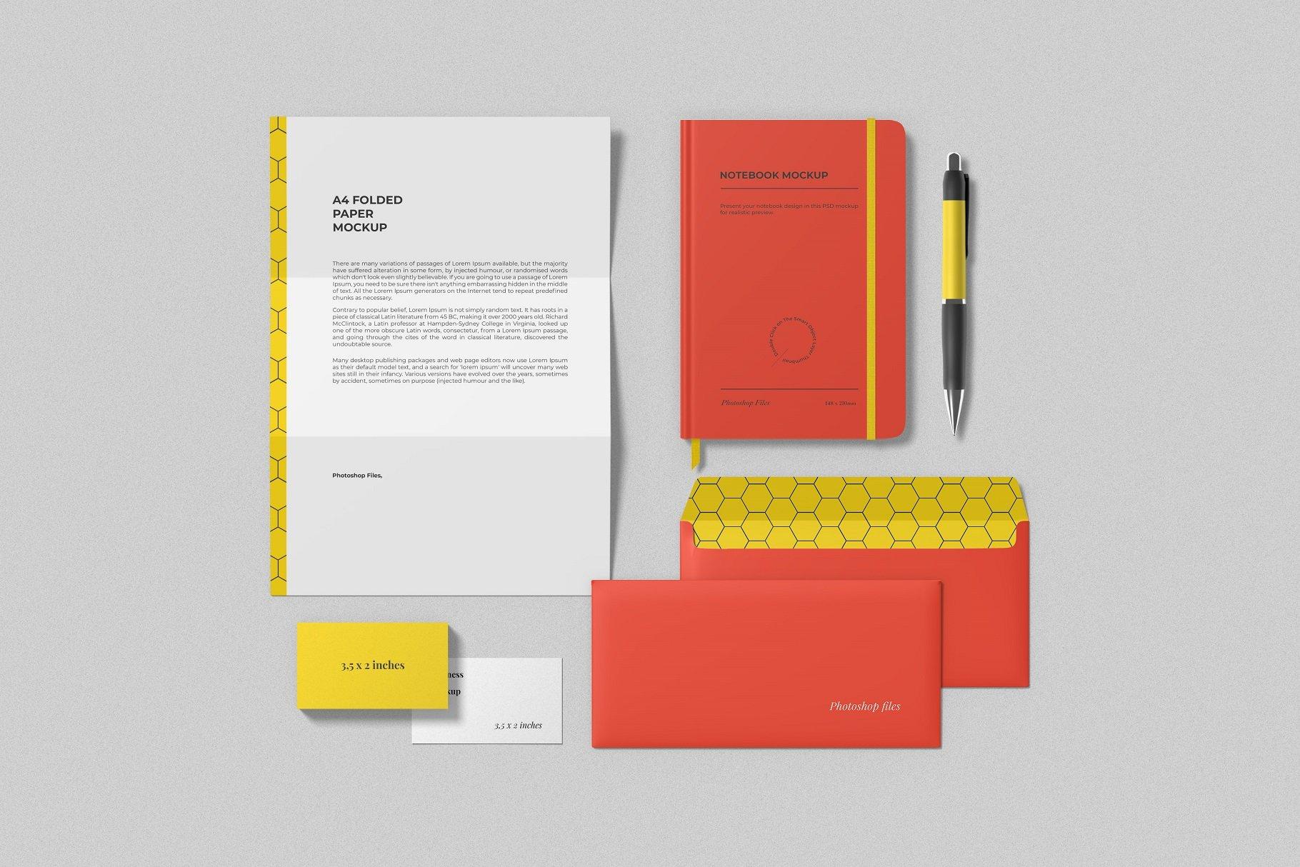 12个时尚简约品牌Logo设计办公用品展示贴图样机模板套装 Branding Mockup Scene Creator插图9