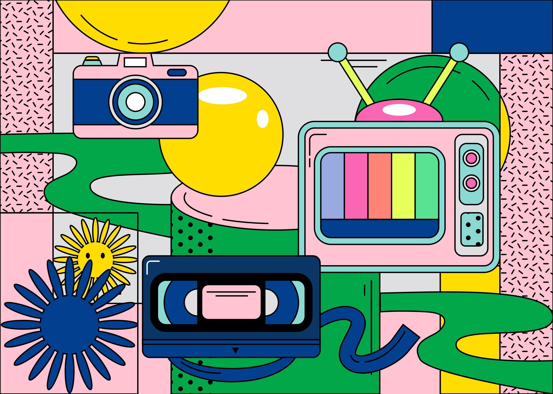 [单独购买] 13款潮流炫彩复古撞色孟菲斯几何插图插画AI设计素材 Colorful Memphis Vector Material插图4