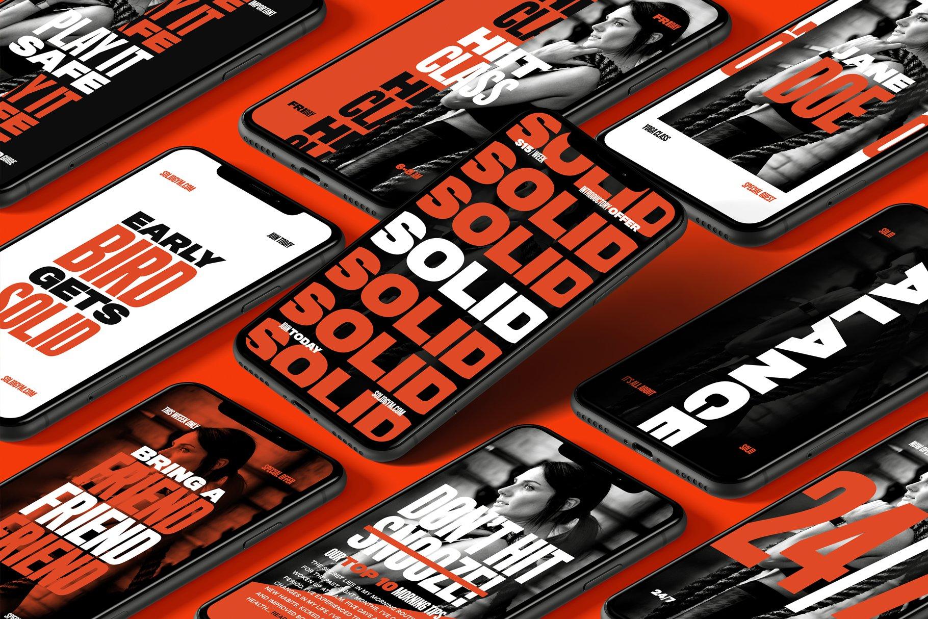 [单独购买] 现代时尚运动健身新媒体电商海报广告设计PS模板素材 Solid – Bold Instagram Stories插图
