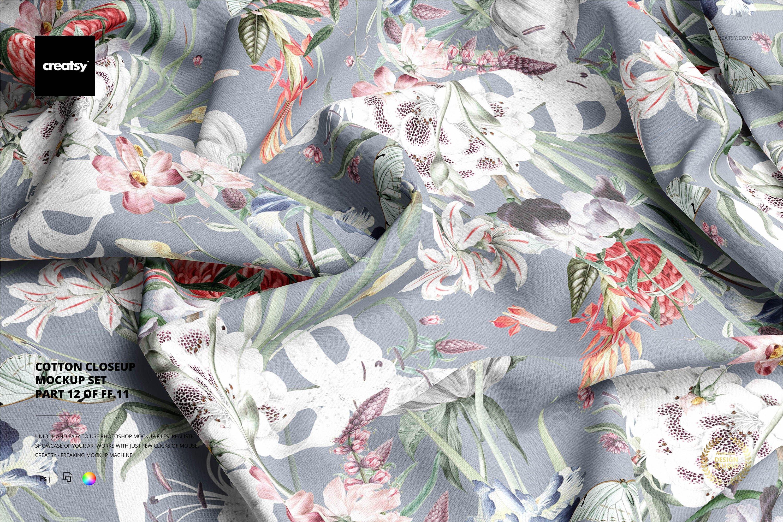 时尚棉料布印花图案设计展示样机合集 Cotton Closeup Mockup Set插图